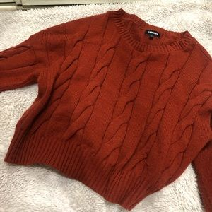 Burnt Orange Off Shoulder Cable Knit Sweater